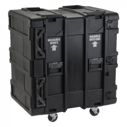 "SKB Cases - 3SKB-R916U24 - SKB 24"" Deep 16U Roto Shock Rack - External Dimensions: 27.5"" Width x 36.8"" Depth x 39"" Height - Hinged, Latch Lock Closure - Stackable - Steel - Black"