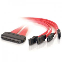 C2G (Cables To Go) - 10249 - C2G 1m SAS 32-pin to Four SATA Cable - SAS - SATA - 3.28ft - Red