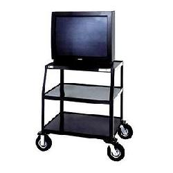 Da-Lite - 7025 - Da-Lite PIXMate TV Cart With Cabinet And Shelf - Metal - Black