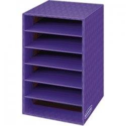 Fellowes - 3381201 - Bankers Box 6 Shelf Organizer - 6 Compartment(s) - Compartment Size 2.63 x 11 x 13 - 18 Height x 11.9 Width x 13.3 Depth - Desktop - Purple - Corrugated Paper - 1Each