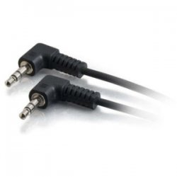 C2G (Cables To Go) - 40582 - C2G 1.5ft 3.5mm Right Angled M/M Stereo Audio Cable - for Speaker - 1.50 ft - 1 x Mini-phone Male Stereo Audio - 1 x Mini-phone Male Stereo Audio - Shielding - Black