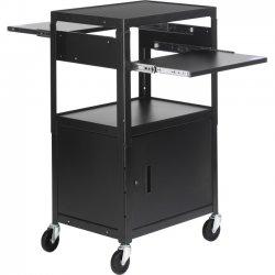 Bretford - CA2642DNS - Bretford Basics CA2642DNS AV Notebook Cabinet Cart - 3 x Shelf(ves) - Locking Door - 42 Height x 24 Width x 18 Depth - Powder Coated - Steel - Black