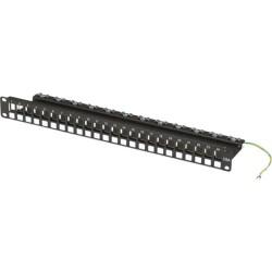 Black Box Network - JPMT700A - Black Box CAT6a Blank Patch Panel, 24-Port, 19, 1.75H, 1U - 24 - 24 Port(s) - 24 x RJ-11 - 1U High - 19 Wide - Rack-mountable