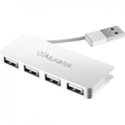 Aluratek - AUH1204F - Aluratek 4-port USB Hub - USB - External - 4 USB Port(s) - 4 USB 2.0 Port(s)