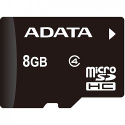 A-DATA Technology - AUSDH8GCL4-RA1 - Adata 8 GB microSDHC - Class 4 - 14 MB/s Read - 5 MB/s Write - 1 Card