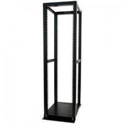 StarTech - 4POSTRACKBK - StarTech.com 42U Adjustable 4 Post Open Server Equipment Rack Cabinet - Store your servers, network and telecommunications equipment in this adjustable 42U open-frame rack - Compatible with Dell PowerEdge R series rack server -