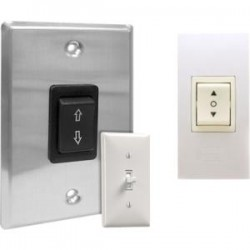 Draper - 121001 - Draper SS-1R-Single Station Control - Rocker Switch - Electric Screen - Black Switch, Silver Plate