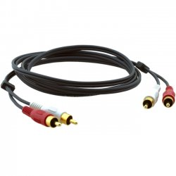 Kramer Electronics - C-2RAM/2RAM-3 - Kramer C-2RAM/2RAM-3 Coaxial Audio Cable - Coaxial for Audio Device - 3 ft - 2 x RCA Male Stereo Audio - 2 x RCA Male Stereo Audio