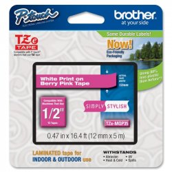 Brother International - TZEMQP35 - Brother TZeMQP35 - Matte - white on berry pink - Roll (0.5 in x 16.4 ft) 1 roll(s) laminated tape - for P-Touch PT-1010, D210, D450, D800, E550, H110, P300, P900, P950, P-Touch EDGE PT-P750