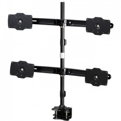 Amer Networks - AMR4C32 - Amer Mounts Clamp Based Quad Monitor Mount for four 24-32 LCD/LED Flat Panel Screens - Supports up to 26.5lb monitors, +/- 20 degree tilt, and VESA 75/100