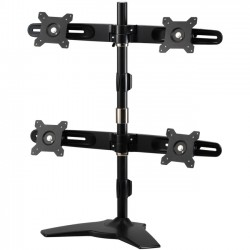 Amer Networks - AMR4S - Amer Mounts Stand Based Quad Monitor Mount for four 15-24 LCD/LED Flat Panel Screens - Supports up to 17.6lb monitors, +/- 20 degree tilt, and VESA 75/100