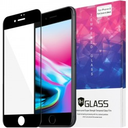 Amzer - AMZ203045 - Amzer Kristal Tempered Glass HD Edge2Edge Black Screen Protector for iPhone 8 Transparent, Black - LCD iPhone 8