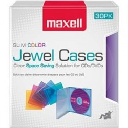 Maxell - 190153 - Maxell Jewel Cases Slim Line - Color (30 Pack) - Jewel Case - Assorted