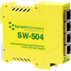 Brainboxes - SW-504-X100M - Brainboxes SW-504 Industrial Unmanaged Ethernet Switch 4 Ports - 4 Network - Twisted Pair - 2 Layer Supported - Rail-mountable - Lifetime Limited Warranty