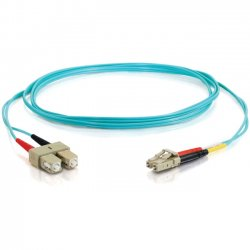 C2G (Cables To Go) - 11009 - 10m LC-SC 10Gb 50/125 OM3 Duplex Multimode Fiber Optic Cable (TAA Compliant) - Aqua - Fiber Optic for Network Device - LC Male - SC Male - 10Gb - 50/125 - Duplex Multimode - OM3 - 10GBase-SR, 10GBase-LRM - TAA Compliant - 10m