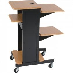 Best-Rite / MooreCo - 27519 - Balt Presentation Cart (Teak/Black) - 3 x Shelf(ves) - 40.3 Height x 18 Width x 30 Depth - Powder Coated - Steel - Black, Teak