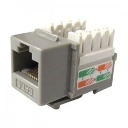 Weltron - 44-678C6-GY - Weltron Cat6 Gray 110 Keystone Punch Down Jack (44-678C6-GY) - 1 x RJ-45 Female - Gray