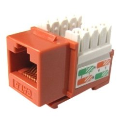 Weltron - 44-678C6-OR - Weltron Cat6 Orange 110 Keystone Punch Down Jack (44-678C6-OR) - 1 x RJ-45 Female - Orange