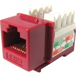 Weltron - 44-678C6-RD - Weltron Cat6 Red 110 Keystone Punch Down Jack (44-678C6-RD) - 1 x RJ-45 Female - Red