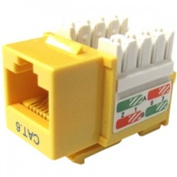Weltron - 44-678C6-YL - Weltron Cat6 Yellow 110 Keystone Punch Down Jack (44-678C6-YL) - 1 x RJ-45 Female - Yellow