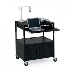 Bretford - ECILS3FF-BK - Bretford ECILS3FF-BK Adjustable Multipurpose Cart with Cabinet - Black