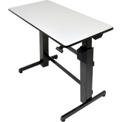 Ergotron - 24-271-926 - Ergotron WorkFit-D, Sit-Stand Desk (Light-Grey Surface) - Rectangle Top - 47.60 Table Top Width x 23.50 Table Top Depth - 50.60 Height - Assembly Required - Black