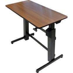 Ergotron - 24-271-927 - Ergotron WorkFit-D, Sit-Stand Desk (Walnut Surface) - Rectangle Top - 47.60 Table Top Width x 23.50 Table Top Depth - Steel, Metal, Wood Grain