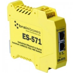 Brainboxes - ES-571 - Brainboxes Es-571 Industrial Isolated Ethernet to Serial + Switch - 1 x Network (RJ-45) - 1 x Serial Port - Fast Ethernet - Rail-mountable