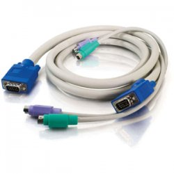 C2G (Cables To Go) - 24068 - C2G 10ft 3-in-1 HD15 VGA MM + PS/2 MM KVM Cable - 10ft - Beige
