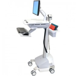 Cybernet Manufacturing - SVEM-BL101 - Cybernet EMR Cart with LCD Arm, Powered - 35 lb Capacity - 19.8 Width x 28.7 Depth x 50.5 Height