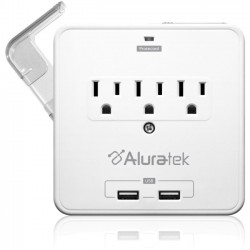 Aluratek - AUCS07F - Aluratek Mini Surge Dual USB Charging Station with Holding Trays - 3 x AC Power - 612 J - 120 V AC Input - 5 V Output