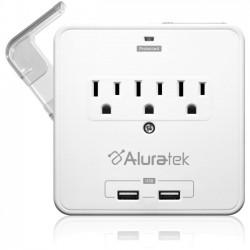 Aluratek - AUCS07F - Aluratek Mini Surge Dual USB Charging Station with Holding Trays - 3 x AC Power - 612 J - 120 V AC Input - 5 V Output