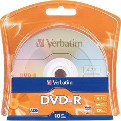 Verbatim / Smartdisk - 96938 - Verbatim DVD Recordable Media - DVD-R - 16x - 4.70 GB - 10 Pack Blister Pack - 120mm - 2 Hour Maximum Recording Time