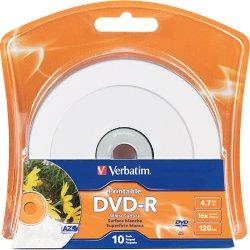 Verbatim / Smartdisk - 96936 - Verbatim DVD-R 4.7GB 16X White Inkjet Printable with Branded Hub - 10pk Blister - Inkjet Printable