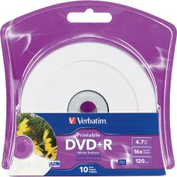 Verbatim / Smartdisk - 96940 - Verbatim DVD+R 4.7GB 16X White Inkjet Printable with Branded Hub - 10pk Blister - Inkjet Printable
