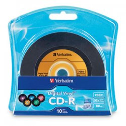 Verbatim / Smartdisk - 96858 - Verbatim Digital Vinyl 52x CD-R Media - 700MB - 120mm Standard - 10 Pack Blister Pack