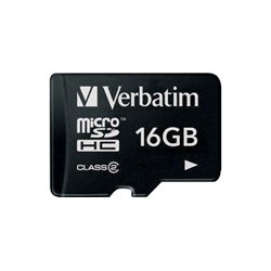 Verbatim / Smartdisk - 97180 - Verbatim 16GB MicroSDHC Memory Card with Adapter, Class 4 - Class 4 - 1 Card/1 Pack