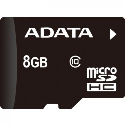 A-DATA Technology - AUSDH8GUICL10-R - Adata Premier 8 GB microSDHC - Class 10/UHS-I - 50 MB/s Read - 1 Card - Retail