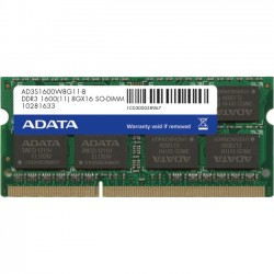 A-DATA Technology - AD3S1600W8G11-2 - Adata DDR3 1600 204 Pin So-DIMM - 8 GB - DDR3 SDRAM - 1600 MHz DDR3-1600/PC3-12800 - 1.50 V - 204-pin - SoDIMM