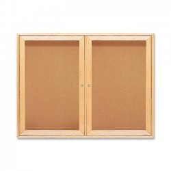 Acco Brands - 364 - Quartet Enclosed Cork Bulletin Board for Indoor Use, 4' x 3', 2 Door, Oak Frame - 36 Height x 48 Width - Brown Natural Cork Surface - Oak Frame - 1 / Each