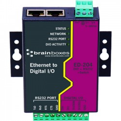 Brainboxes - ED-204 - Brainboxes Ethernet to Digital + RS232 + Switch - 2 x Network (RJ-45) - 1 x Serial Port - Fast Ethernet - Rail-mountable