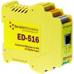 Brainboxes - ED-516 - Brainboxes ED-516 Ethernet to Digital IO 16 Inputs - 1 x Network (RJ-45) - 1 x Serial Port - Fast Ethernet - Rail-mountable