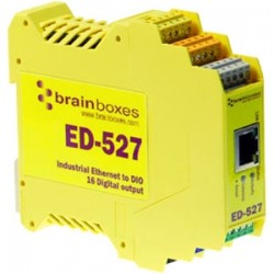 Brainboxes - ED-527 - Brainboxes ED-527 Ethernet to Digital IO 16 Outputs - 1 x Network (RJ-45) - 1 x Serial Port - Fast Ethernet - Rail-mountable