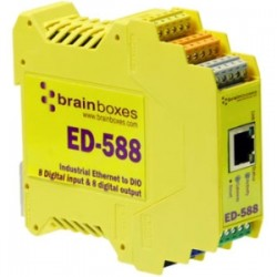 Brainboxes - ED-588 - Brainboxes ED-588 Ethernet to Digital IO 8 Inputs + 8 Outputs - 1 x Network (RJ-45) - 1 x Serial Port - Fast Ethernet - Rail-mountable