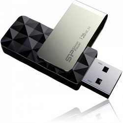 Silicon Power - SP128GBUF3B30V1K - Silicon Power Blaze B30 USB 3.0 Flash Drive - 128 GB - USB 3.0 - Black - LED Indicator, Swivel, Capless, Retractable - Diamond Cut