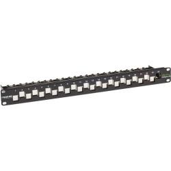 Black Box Network - C6AMP70-24 - Black Box GigaTrue CAT6A Staggered Blank Patch Panel, 24-Port, 1U - 24 x RJ-45 - 24 Port(s) - 24 x RJ-45 - 24 x RJ-11 - 1U High - 19 Wide - Rack-mountable