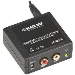 Black Box Network - IC081A - Black Box Digital Audio Converter - 5.1 Channel - 96 kHz - 20 kHz - Speaker, Media Player, PC, TV, CD Player, DVD Player