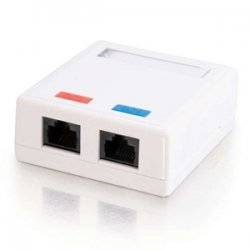 C2G (Cables To Go) / Legrand - 03837 - C2G 2-Port Cat5E Surface Mount Box - White - 2 x Socket(s) - RJ-45 Network - White