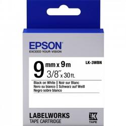 Epson - LK-3WBN - Epson LabelWorks Standard LK Tape Cartridge ~3/8 Black on White - 3/8 Width x 30 ft Length - Thermal Transfer - White