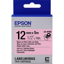 Epson - LK-4PBQ - Epson LabelWorks Iron on (Fabric) LK Tape Cartridge ~1/2 Black on Pink - 1/2 Width x 16 ft Length - Thermal Transfer - Pink
